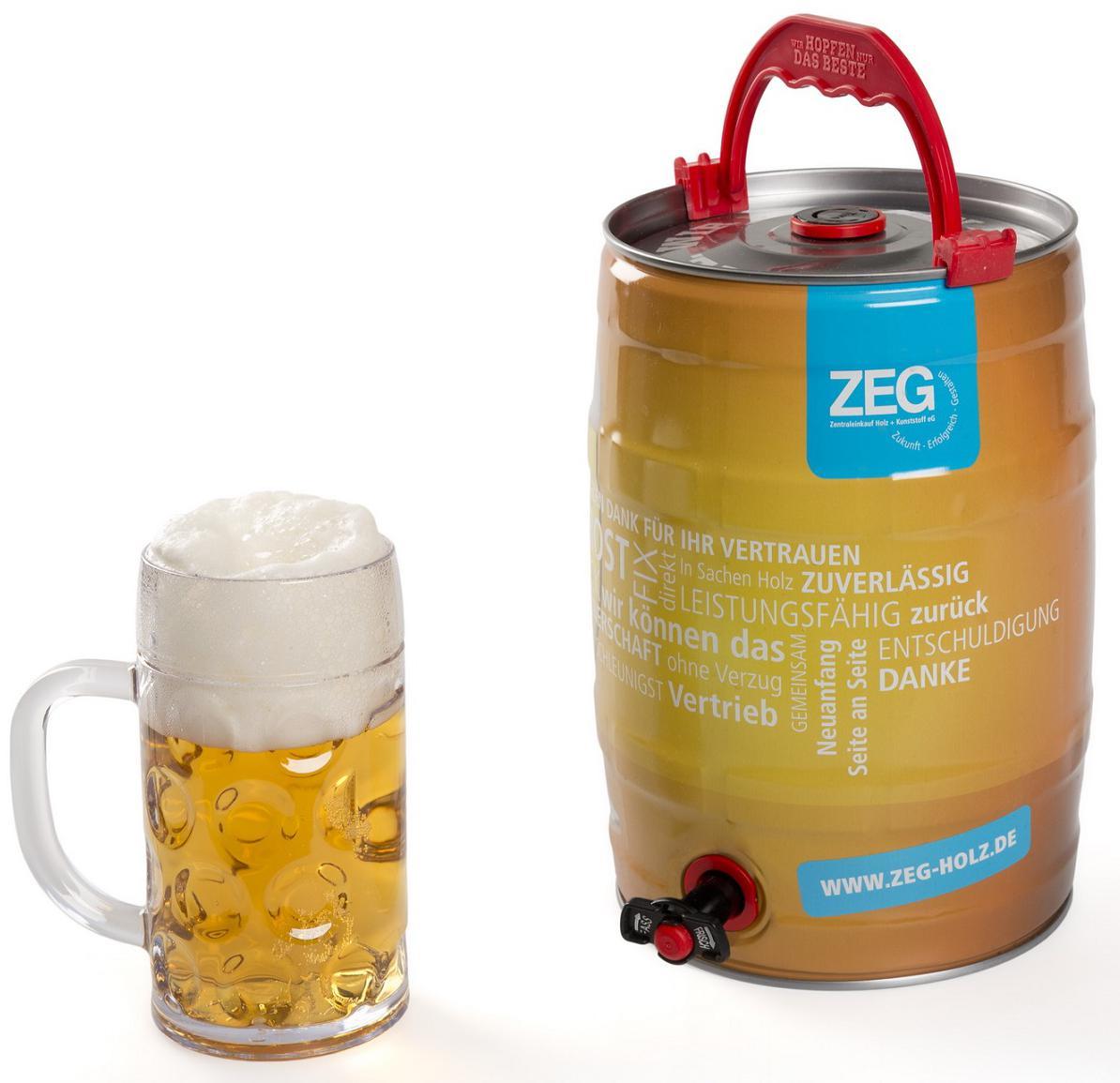 Bedrucktes Bierfass als Werbeartikel: 5L Partyfass samt integriertem ...