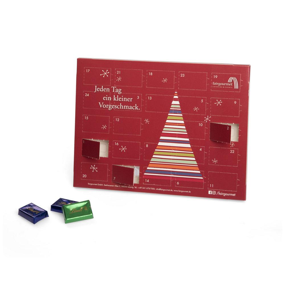 Lindor Weihnachtskalender.Bedruckter Werbe Adventskalender Mit 24 Lindt Naps Aus Feiner Marken