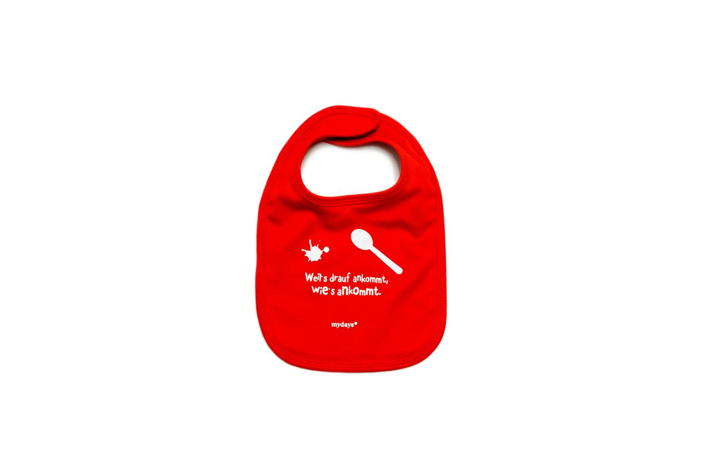 Bedrucktes Baby Latzchen In Rot Als Werbegeschenk Fur Mydays
