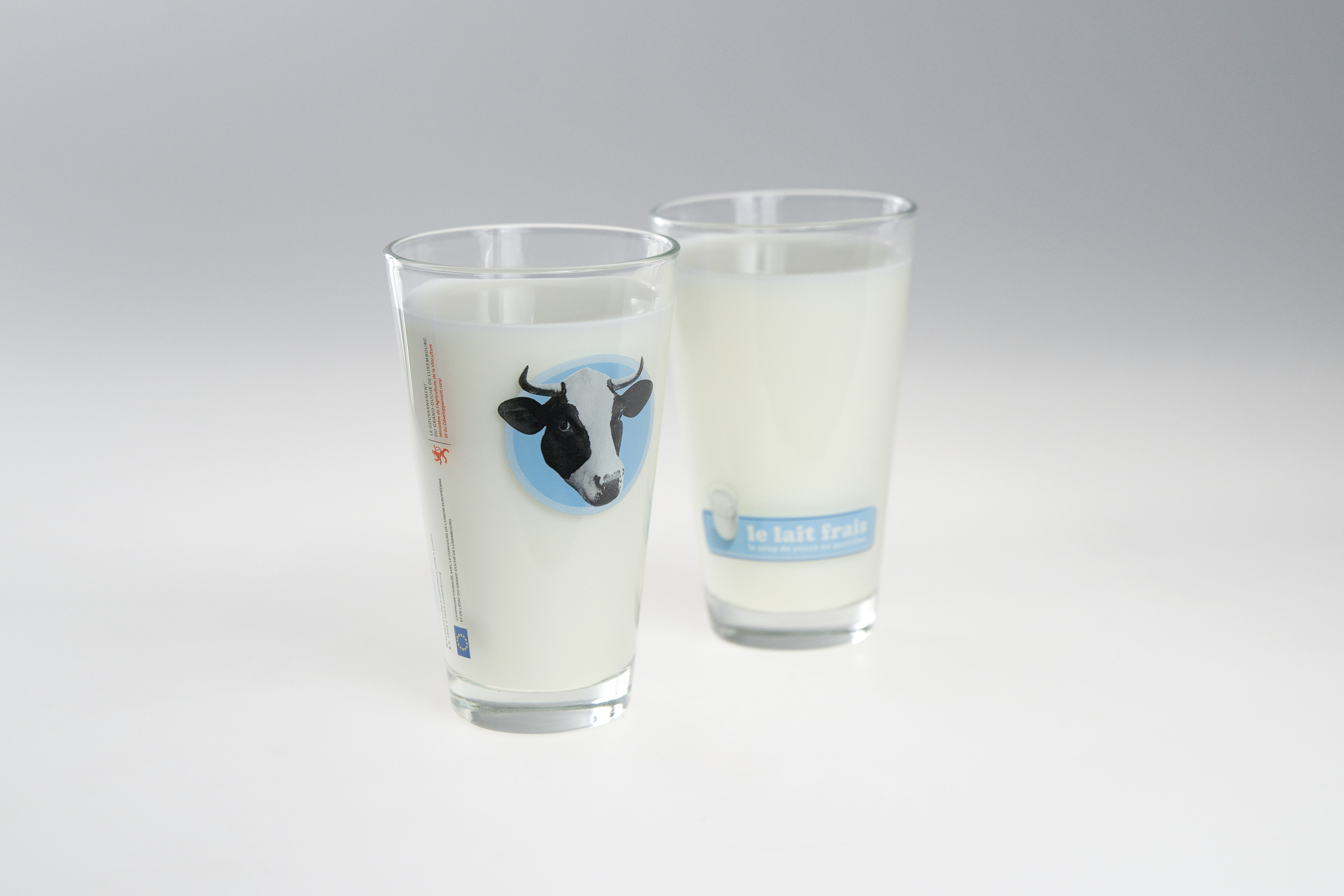 Milchglas mit Werbemotiv | Lerche Werbemittel