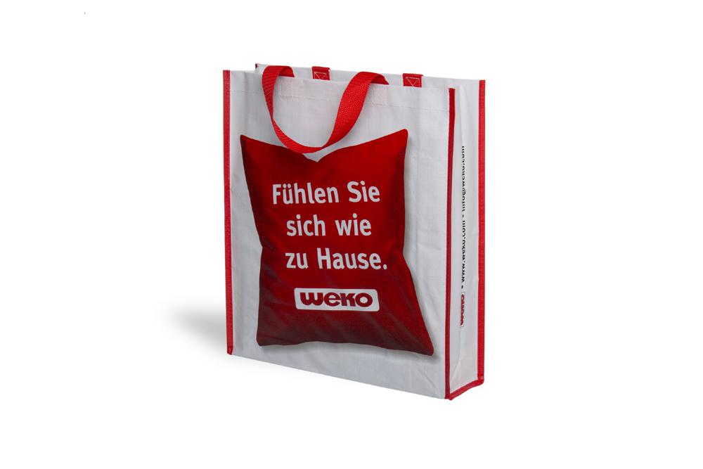 Weko Wohnen einkaufstasche bedruckt aus robustem pp woven material für
