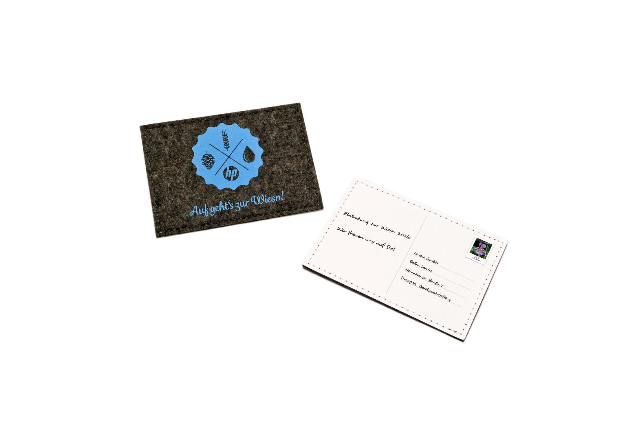 Individuell bedruckbare Postkarte aus Filz Einladung zur Wiesn von ...