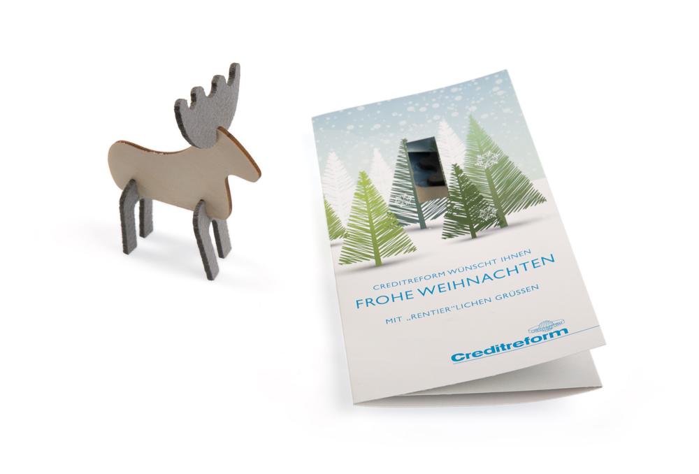 weihnachtskarte mit eigenem motiv mit steckfigur f r creditreform bad kreuznach lerche werbemittel. Black Bedroom Furniture Sets. Home Design Ideas