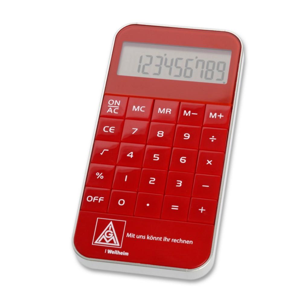 Kompakter Taschenrechner In Rot Mit Hochglanzoptik Samt Logo Als